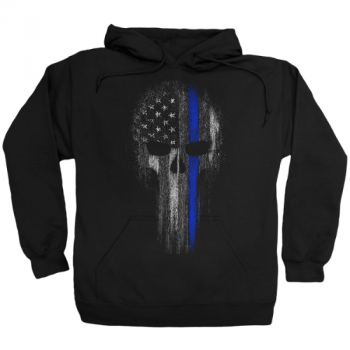 Thin Blue Line Skull Support Police Officer Hoodie